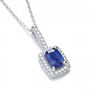 "J-Jaz Micro Pave' Fancy Pendant Blue Small Cz with 18"" Chain"